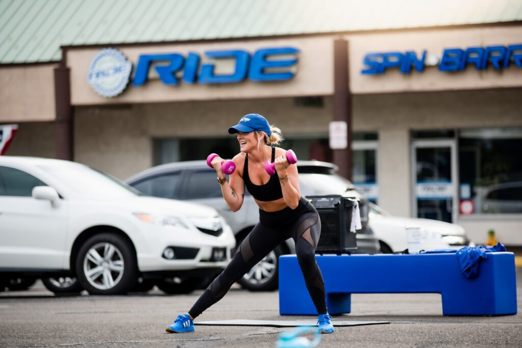 RIDE Boot Camp lunge curls